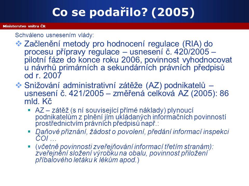 Ministerstvo vnitra ČR Co se podařilo.
