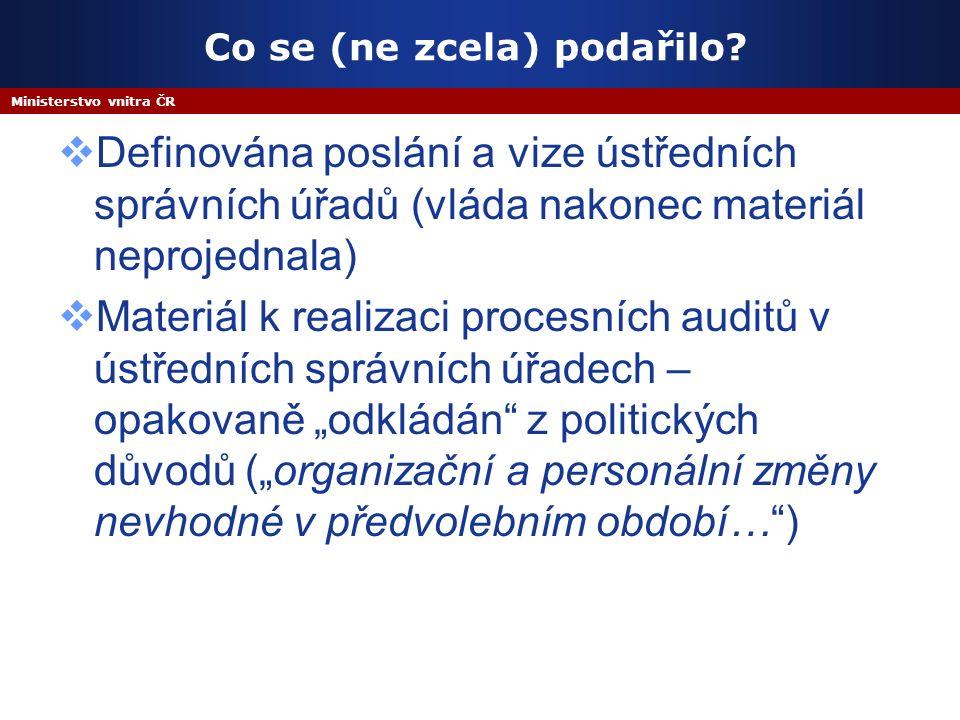 Ministerstvo vnitra ČR Co se (ne zcela) podařilo.