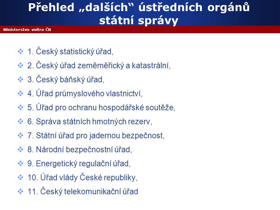 """Ministerstvo vnitra ČR Přehled """"dalších ústředních orgánů státní správy  1."""