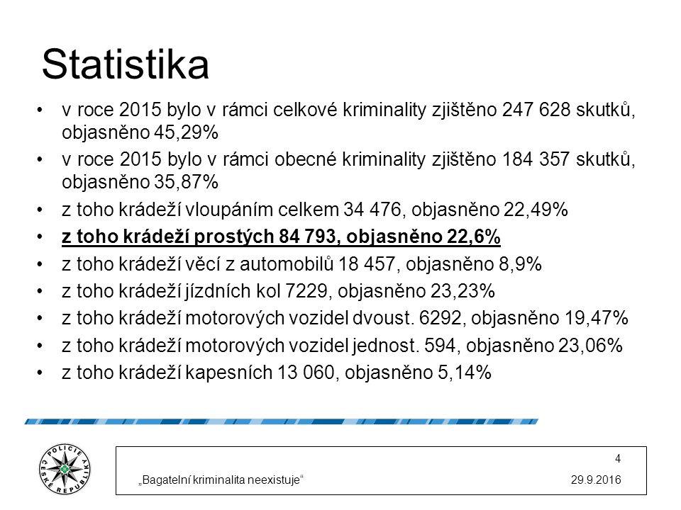 Statistika v roce 2015 bylo v rámci celkové kriminality zjištěno 247 628 skutků, objasněno 45,29% v roce 2015 bylo v rámci obecné kriminality zjištěno