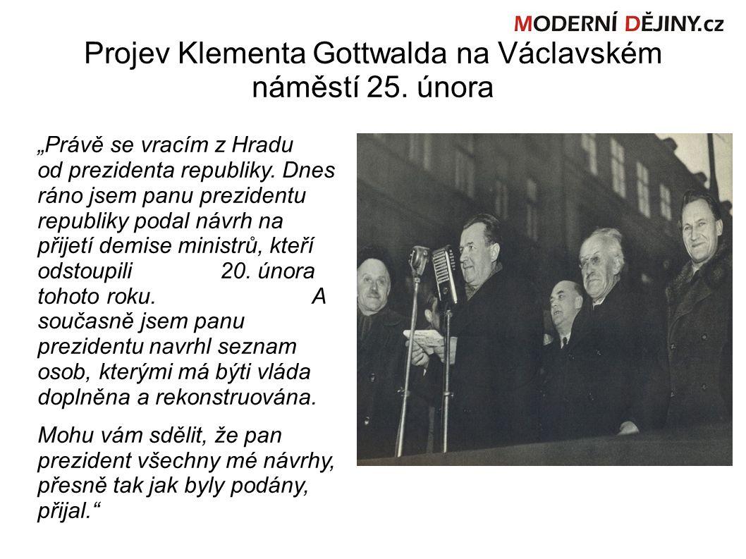 Projev Klementa Gottwalda na Václavském náměstí 25.