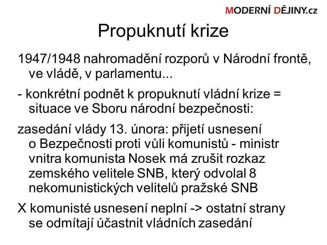 Propuknutí krize 1947/1948 nahromadění rozporů v Národní frontě, ve vládě, v parlamentu...