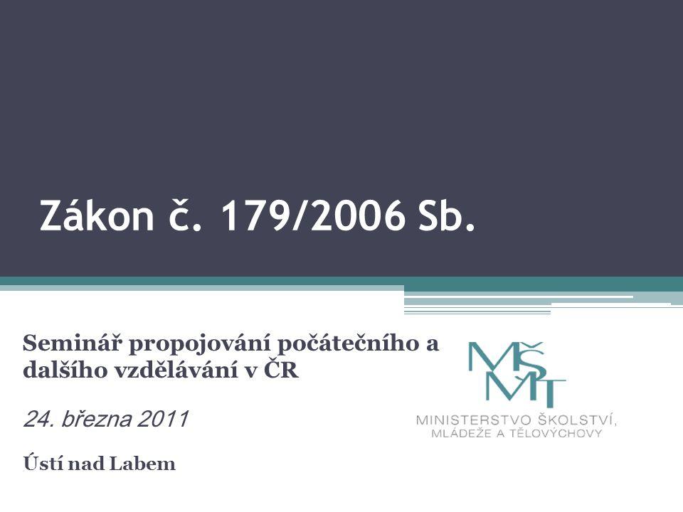 Zákon č. 179/2006 Sb. Seminář propojování počátečního a dalšího vzdělávání v ČR 24.
