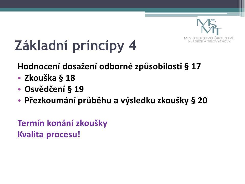 Základní principy 4 Hodnocení dosažení odborné způsobilosti § 17 Zkouška § 18 Osvědčení § 19 Přezkoumání průběhu a výsledku zkoušky § 20 Termín konání zkoušky Kvalita procesu!
