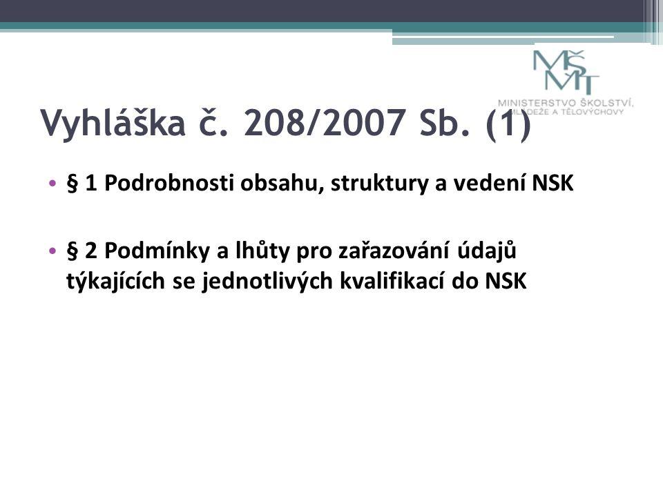 Vyhláška č. 208/2007 Sb.