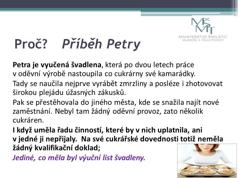 Proč Příběh Petry Petra je vyučená švadlena, která po dvou letech práce v oděvní výrobě nastoupila co cukrárny své kamarádky.