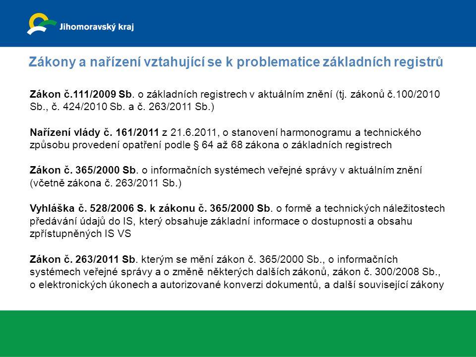 Zákony a nařízení vztahující se k problematice základních registrů Zákon č.111/2009 Sb.