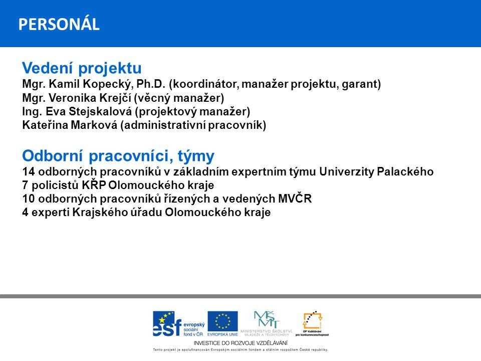 PERSONÁL Vedení projektu Mgr. Kamil Kopecký, Ph.D.