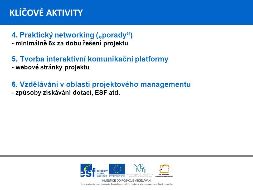 """KLÍČOVÉ AKTIVITY 4.Praktický networking (""""porady ) - minimálně 6x za dobu řešení projektu 5."""