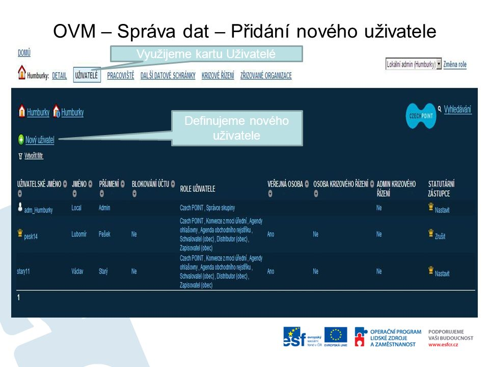 OVM – Správa dat – Přidání nového uživatele Využijeme kartu Uživatelé Definujeme nového uživatele