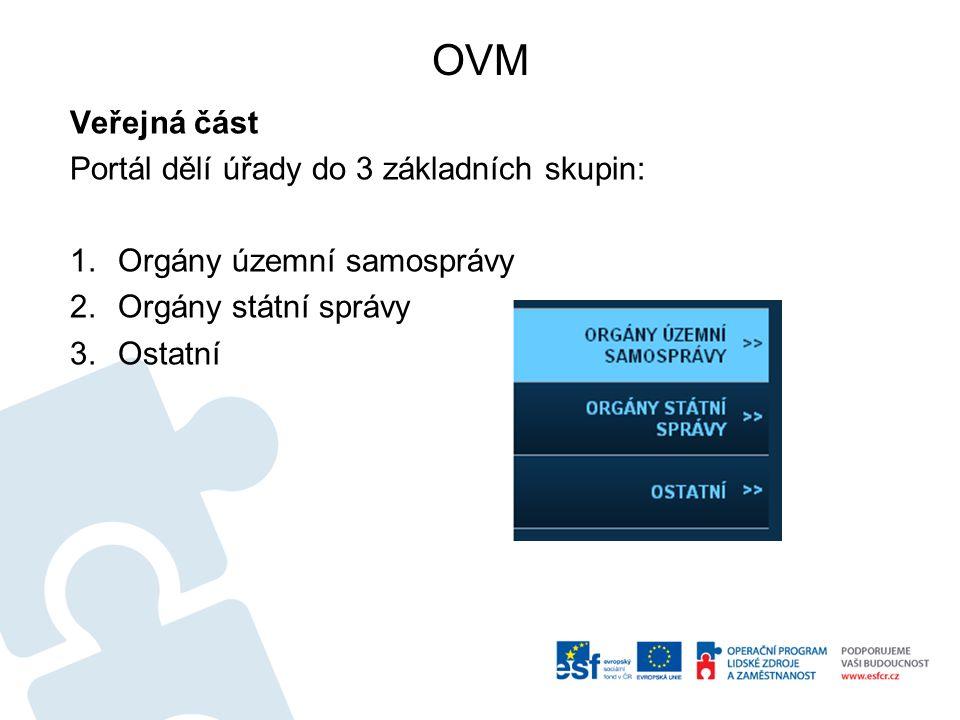 OVM Veřejná část Portál dělí úřady do 3 základních skupin: 1.Orgány územní samosprávy 2.Orgány státní správy 3.Ostatní