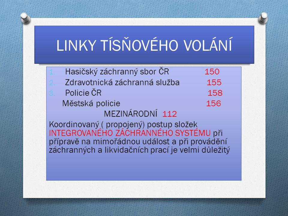 LINKY TÍSŇOVÉHO VOLÁNÍ 1. Hasičský záchranný sbor ČR 150 2.