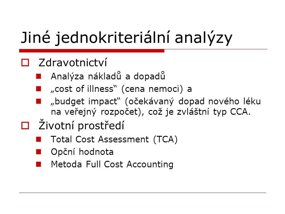 """Jiné jednokriteriální analýzy  Zdravotnictví Analýza nákladů a dopadů """"cost of illness (cena nemoci) a """"budget impact (očekávaný dopad nového léku na veřejný rozpočet), což je zvláštní typ CCA."""