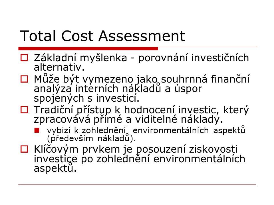 Total Cost Assessment  Základní myšlenka - porovnání investičních alternativ.  Může být vymezeno jako souhrnná finanční analýza interních nákladů a