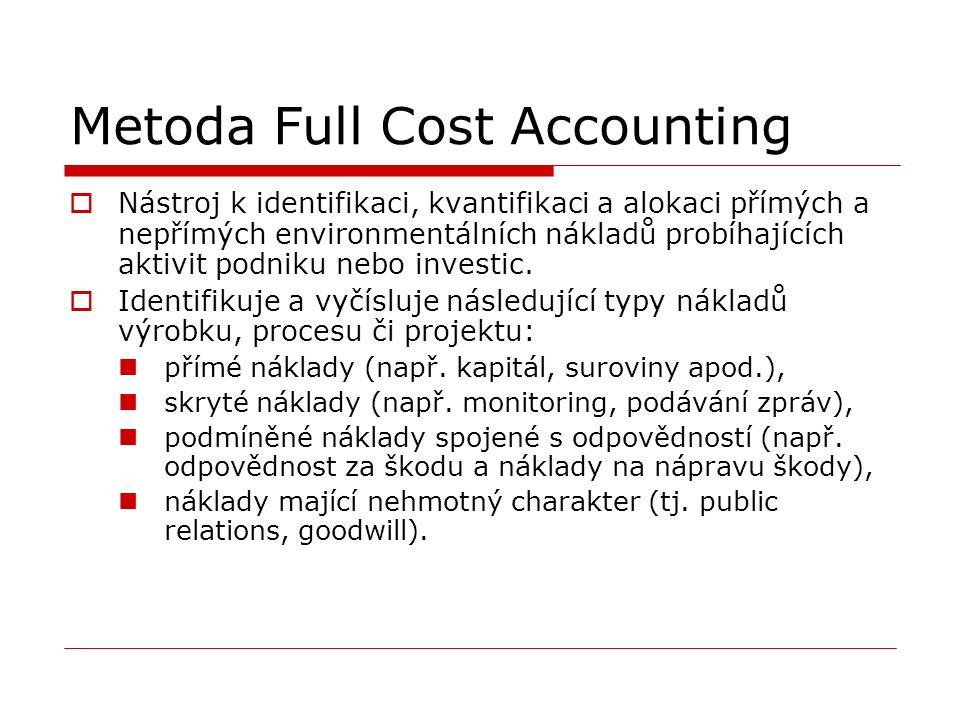 Metoda Full Cost Accounting  Nástroj k identifikaci, kvantifikaci a alokaci přímých a nepřímých environmentálních nákladů probíhajících aktivit podniku nebo investic.