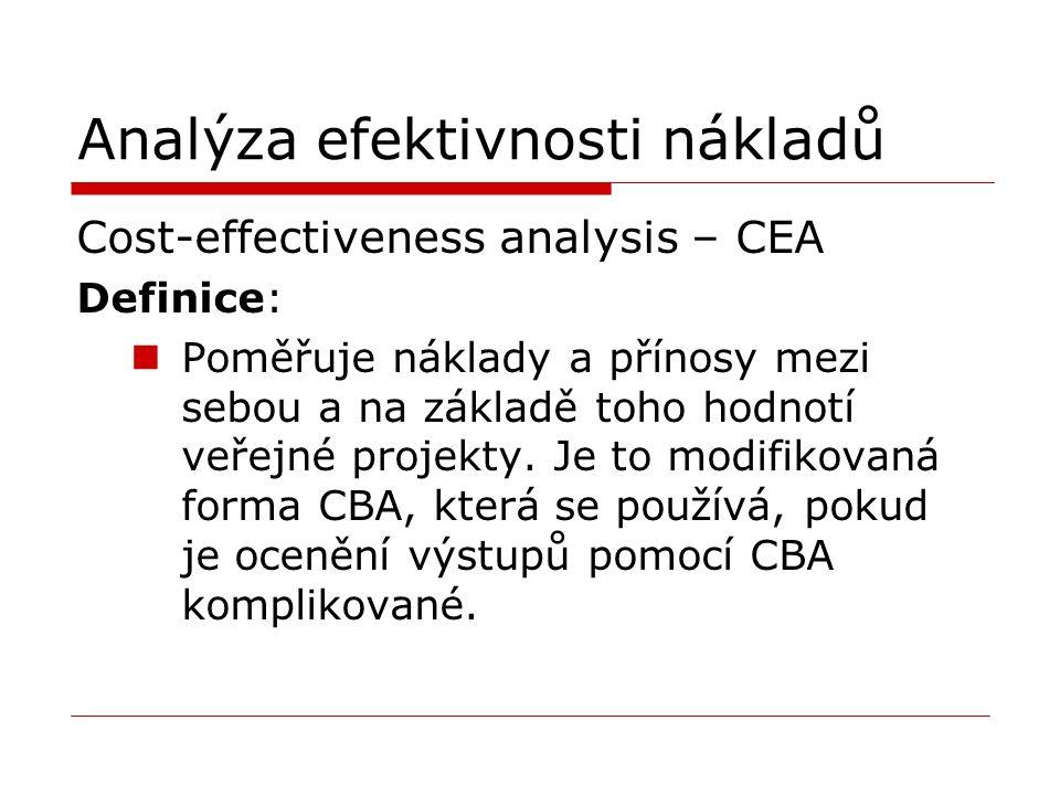 Analýza efektivnosti nákladů Cost-effectiveness analysis – CEA Definice: Poměřuje náklady a přínosy mezi sebou a na základě toho hodnotí veřejné projekty.