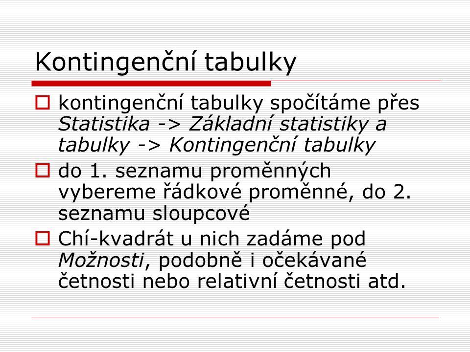 Kontingenční tabulky  kontingenční tabulky spočítáme přes Statistika -> Základní statistiky a tabulky -> Kontingenční tabulky  do 1. seznamu proměnn