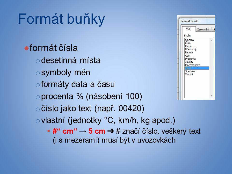 Formát buňky ●formát čísla o desetinná místa o symboly měn o formáty data a času o procenta % (násobení 100) o číslo jako text (např.