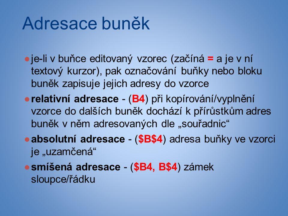 """Adresace buněk ●je-li v buňce editovaný vzorec (začíná = a je v ní textový kurzor), pak označování buňky nebo bloku buněk zapisuje jejich adresy do vzorce ●relativní adresace - (B4) při kopírování/vyplnění vzorce do dalších buněk dochází k přírůstkům adres buněk v něm adresovaných dle """"souřadnic ●absolutní adresace - ($B$4) adresa buňky ve vzorci je """"uzamčená ●smíšená adresace - ($B4, B$4) zámek sloupce/řádku"""