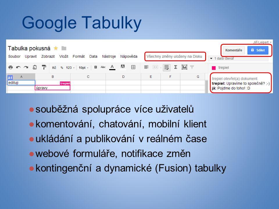 Google Tabulky ●souběžná spolupráce více uživatelů ●komentování, chatování, mobilní klient ●ukládání a publikování v reálném čase ●webové formuláře, notifikace změn ●kontingenční a dynamické (Fusion) tabulky