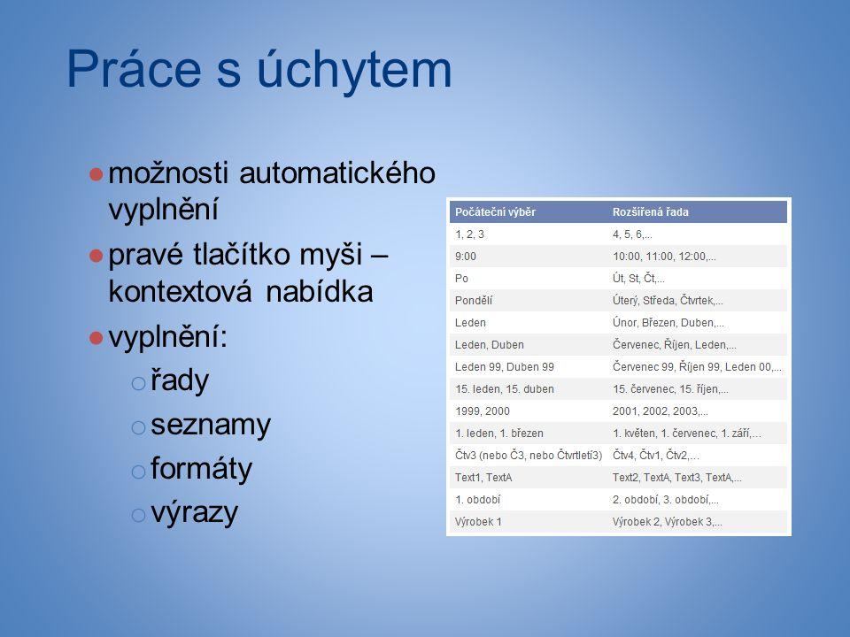 Práce s úchytem ●možnosti automatického vyplnění ●pravé tlačítko myši – kontextová nabídka ●vyplnění: o řady o seznamy o formáty o výrazy