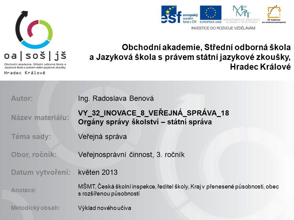 Orgány správy školství 1) Státní správa: A) MPSV.B) Česká školní inspekce.