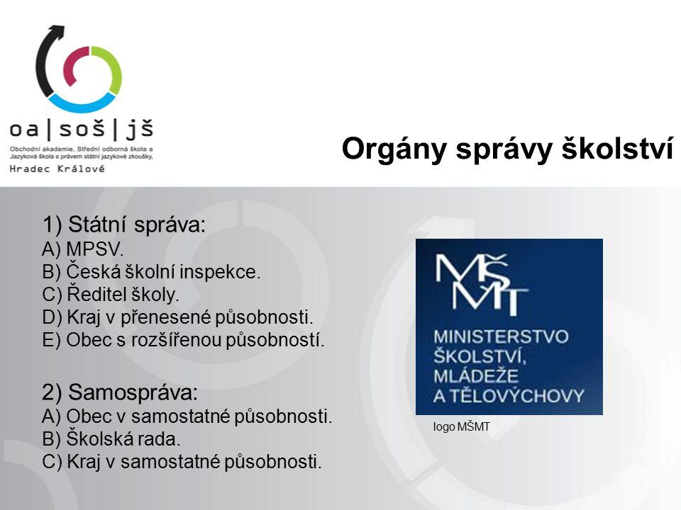 Orgány správy školství 1) Státní správa: A) MPSV. B) Česká školní inspekce.