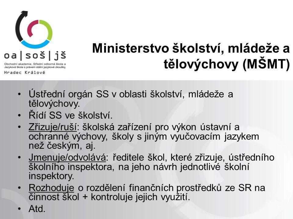 Ministerstvo školství, mládeže a tělovýchovy (MŠMT) Ústřední orgán SS v oblasti školství, mládeže a tělovýchovy. Řídí SS ve školství. Zřizuje/ruší: šk