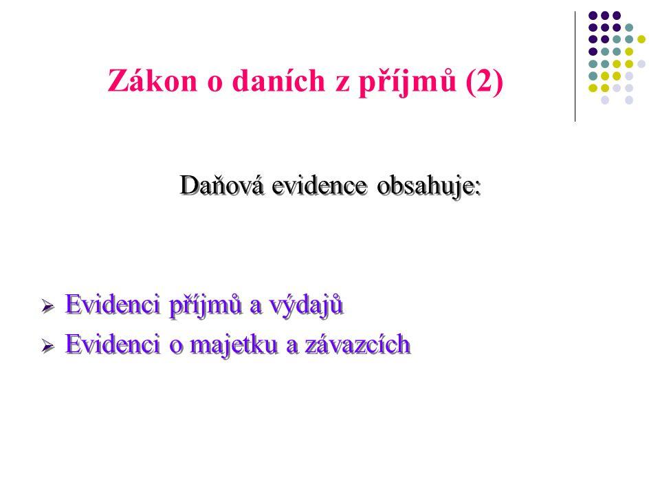Zákon o daních z příjmů (2) Daňová evidence obsahuje:  Evidenci příjmů a výdajů  Evidenci o majetku a závazcích Daňová evidence obsahuje:  Evidenci