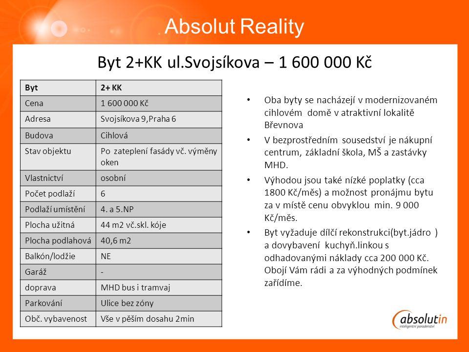 BByt Absolut Reality Byt2+ KK Cena1 600 000 Kč AdresaSvojsíkova 9,Praha 6 BudovaCihlová Stav objektuPo zateplení fasády vč.