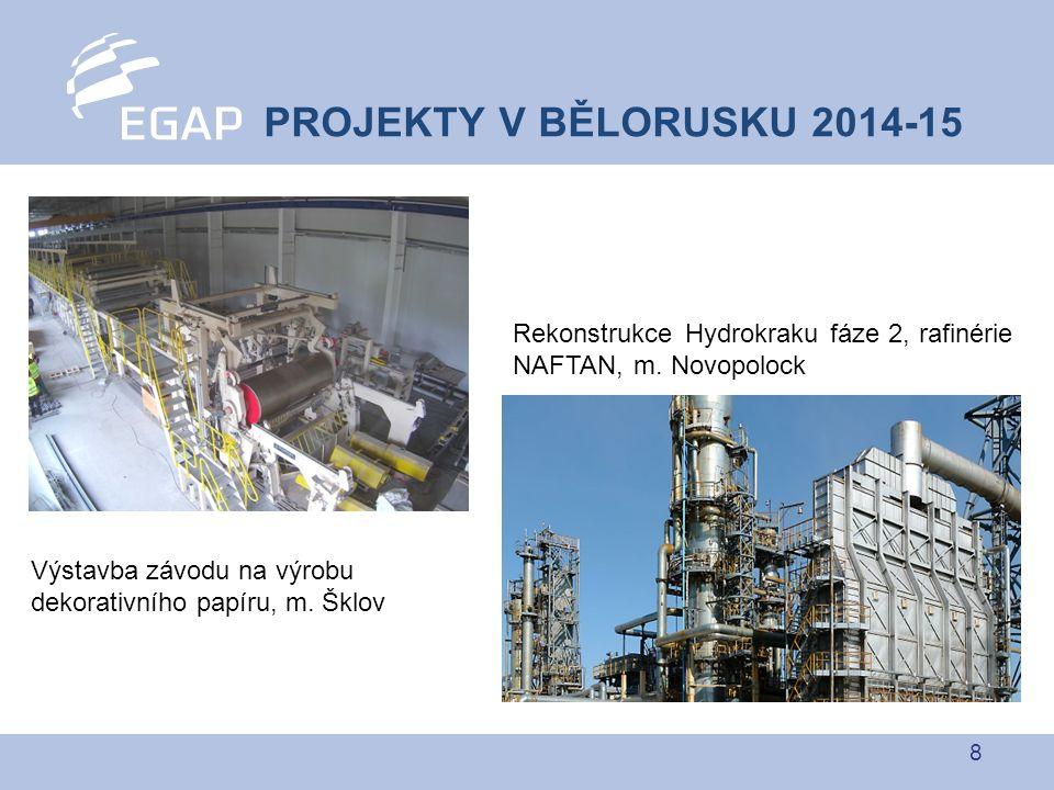 8 PROJEKTY V BĚLORUSKU 2014-15 Rekonstrukce Hydrokraku fáze 2, rafinérie NAFTAN, m. Novopolock Výstavba závodu na výrobu dekorativního papíru, m. Šklo
