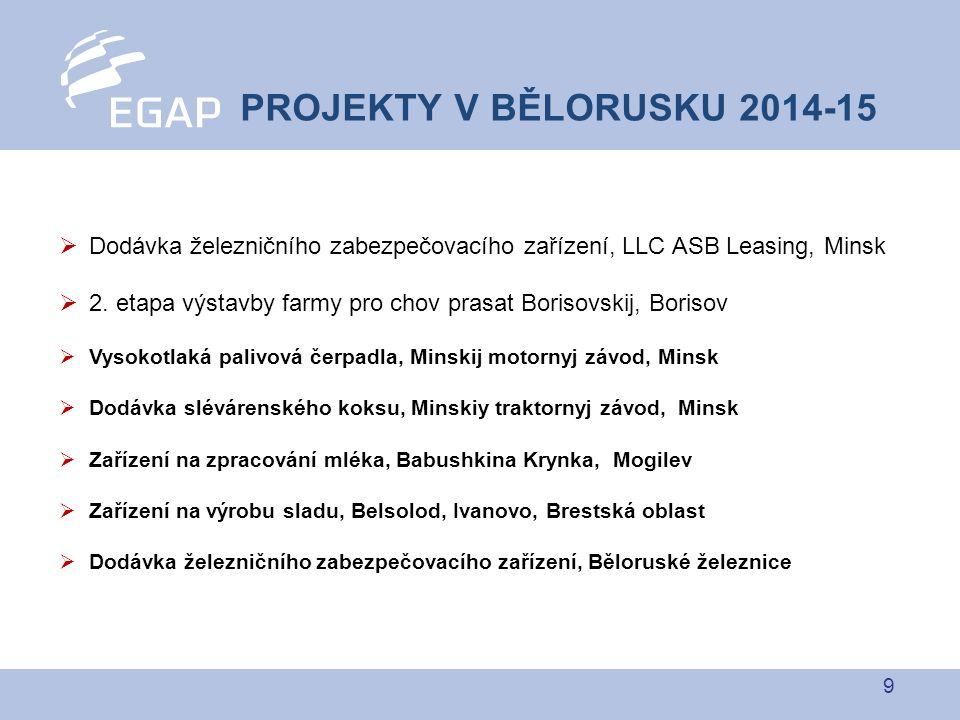 9 PROJEKTY V BĚLORUSKU 2014-15  Dodávka železničního zabezpečovacího zařízení, LLC ASB Leasing, Minsk  2. etapa výstavby farmy pro chov prasat Boris
