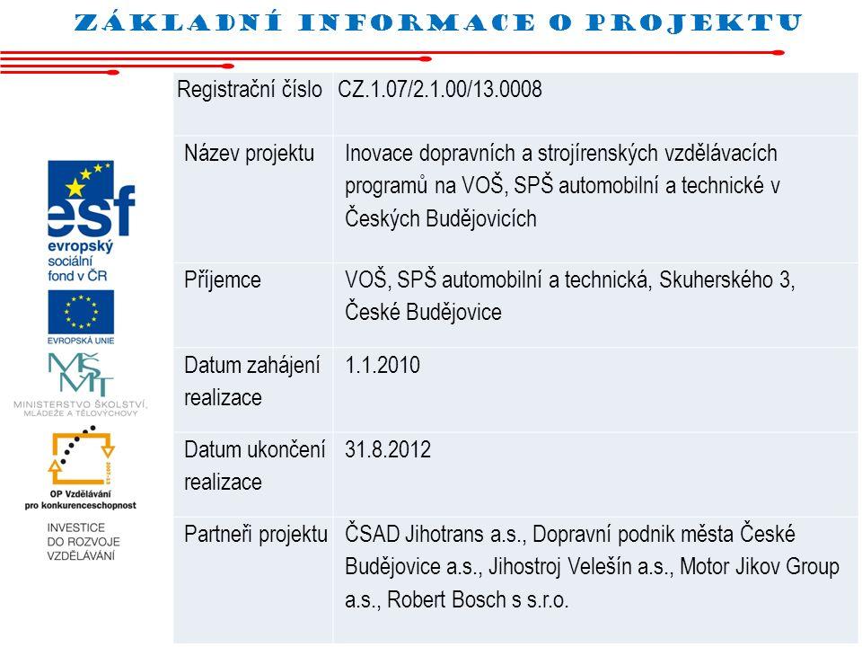 Základní informace o projektu Registrační čísloCZ.1.07/2.1.00/13.0008 Název projektu Inovace dopravních a strojírenských vzdělávacích programů na VOŠ,