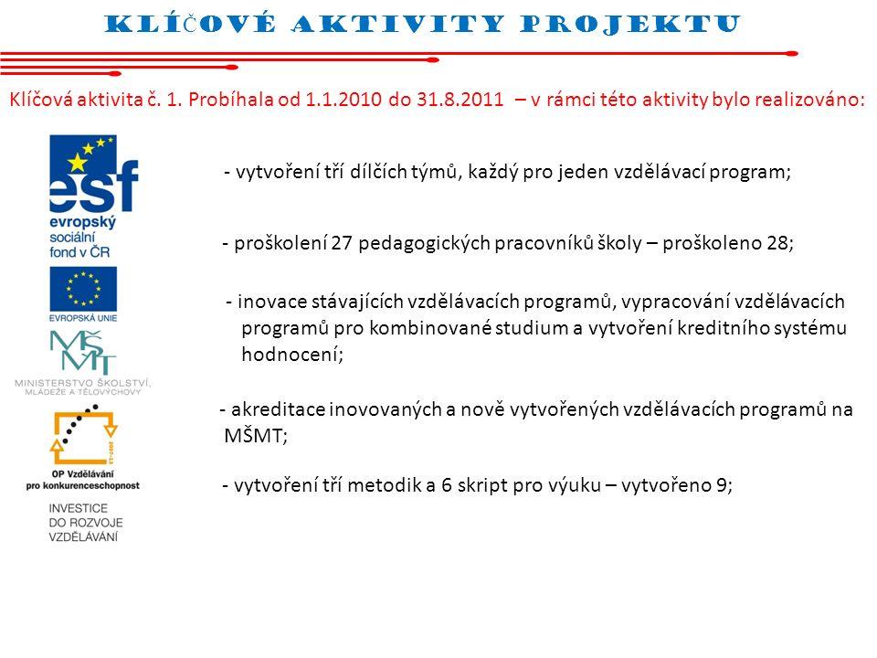 Klí Č oVÉ AKTIVITY projektu Klíčová aktivita č. 1. Probíhala od 1.1.2010 do 31.8.2011 – v rámci této aktivity bylo realizováno: - vytvoření tří dílčíc
