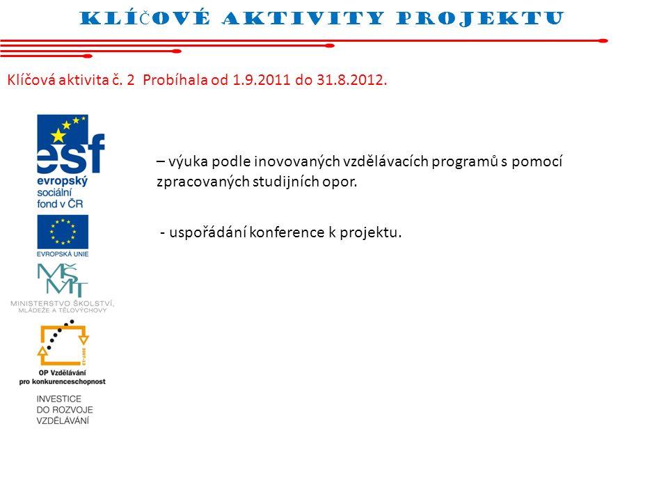 Klí Č oVÉ AKTIVITY projektu Klíčová aktivita č. 2 Probíhala od 1.9.2011 do 31.8.2012. – výuka podle inovovaných vzdělávacích programů s pomocí zpracov