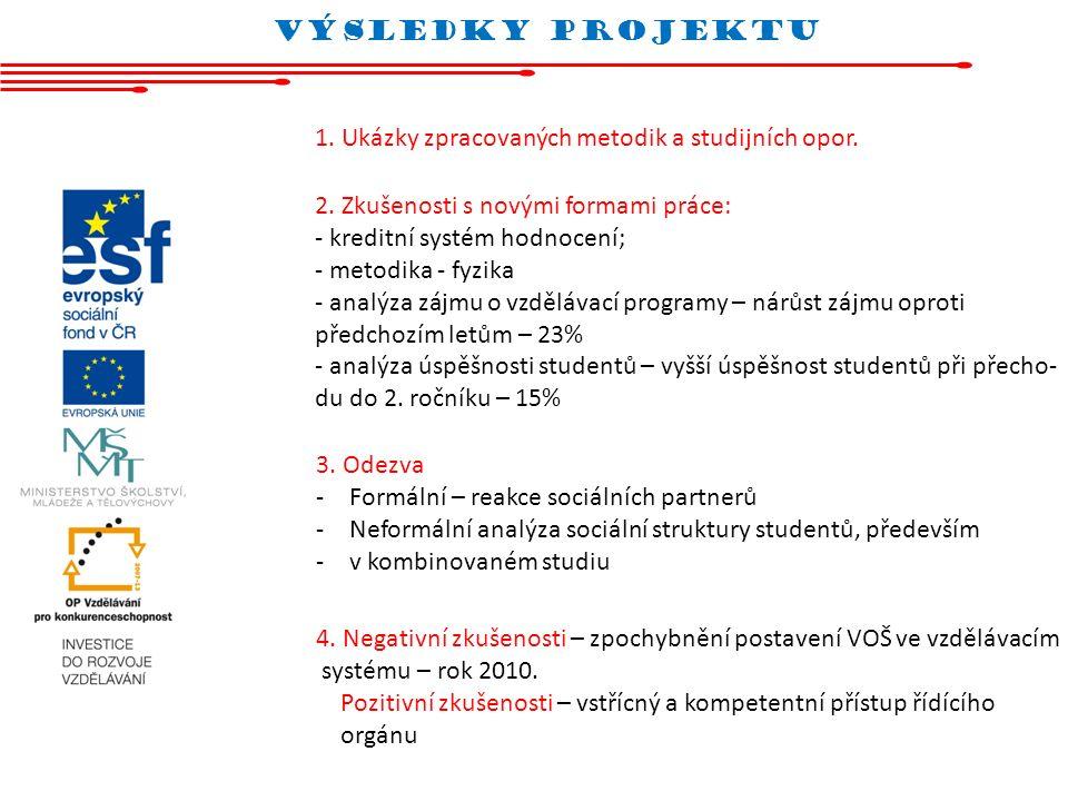 vÝsledky projektu 1. Ukázky zpracovaných metodik a studijních opor. 2. Zkušenosti s novými formami práce: - kreditní systém hodnocení; - metodika - fy