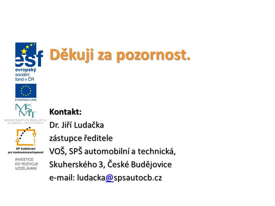 Děkuji za pozornost. Kontakt: Dr. Jiří Ludačka zástupce ředitele VOŠ, SPŠ automobilní a technická, Skuherského 3, České Budějovice e-mail: ludacka@sps