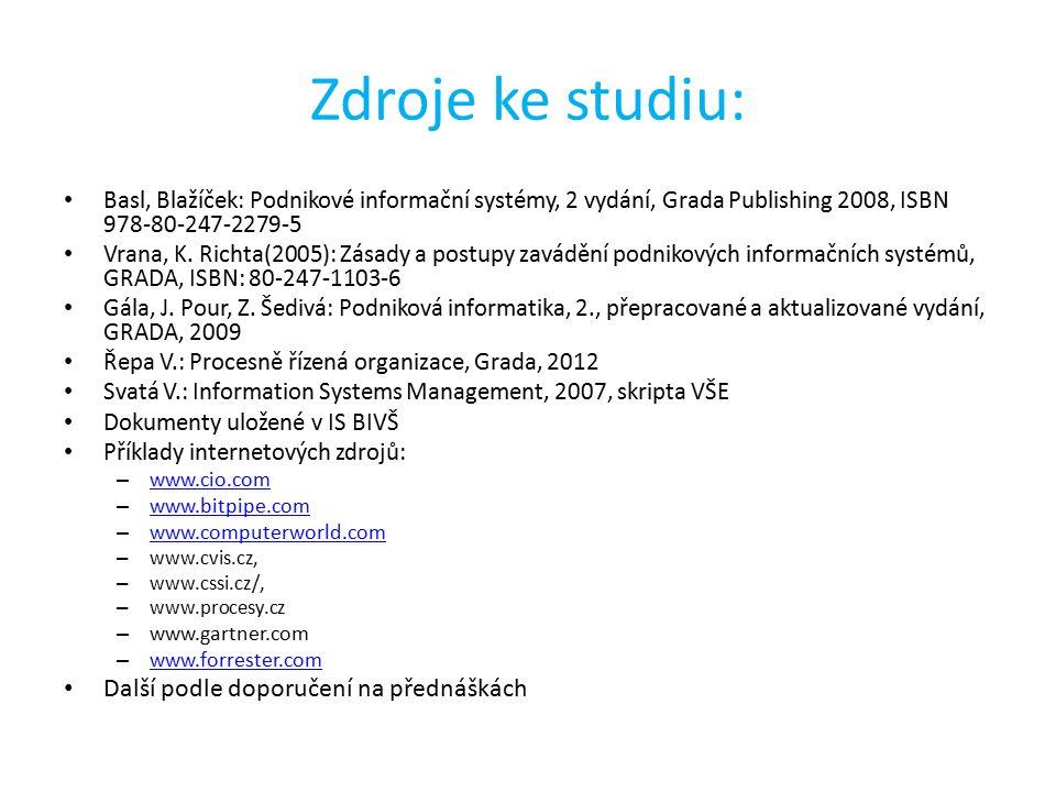 Zdroje ke studiu: Basl, Blažíček: Podnikové informační systémy, 2 vydání, Grada Publishing 2008, ISBN 978-80-247-2279-5 Vrana, K. Richta(2005): Zásady