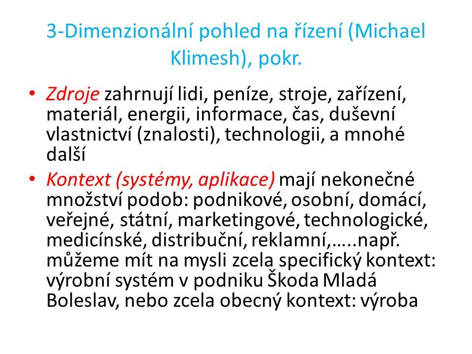 3-Dimenzionální pohled na řízení (Michael Klimesh), pokr. Zdroje zahrnují lidi, peníze, stroje, zařízení, materiál, energii, informace, čas, duševní v