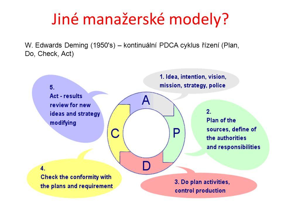 Jiné manažerské modely? W. Edwards Deming (1950's) – kontinuální PDCA cyklus řízení (Plan, Do, Check, Act)