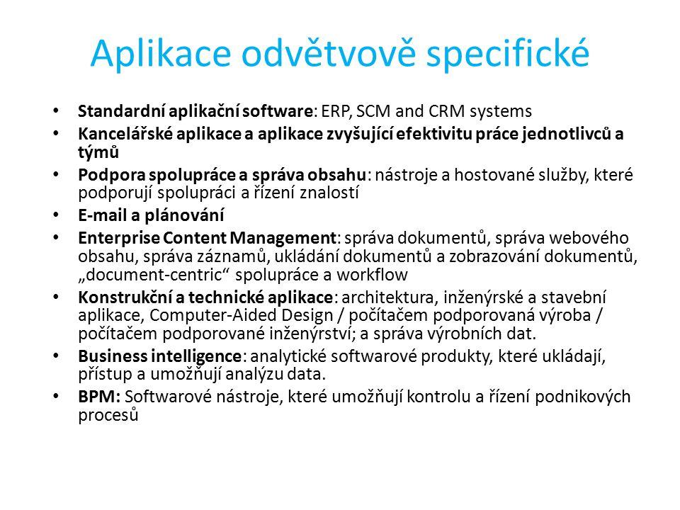 """Aplikace odvětvově specifické Standardní aplikační software: ERP, SCM and CRM systems Kancelářské aplikace a aplikace zvyšující efektivitu práce jednotlivců a týmů Podpora spolupráce a správa obsahu: nástroje a hostované služby, které podporují spolupráci a řízení znalostí E-mail a plánování Enterprise Content Management: správa dokumentů, správa webového obsahu, správa záznamů, ukládání dokumentů a zobrazování dokumentů, """"document-centric spolupráce a workflow Konstrukční a technické aplikace: architektura, inženýrské a stavební aplikace, Computer-Aided Design / počítačem podporovaná výroba / počítačem podporované inženýrství; a správa výrobních dat."""