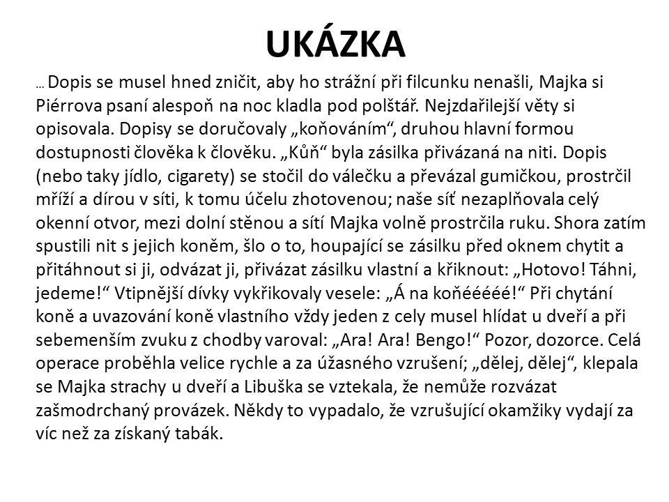 UKÁZKA … Dopis se musel hned zničit, aby ho strážní při filcunku nenašli, Majka si Piérrova psaní alespoň na noc kladla pod polštář.