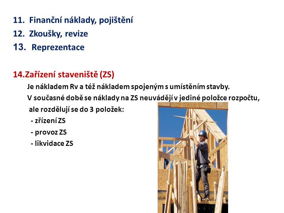 11. Finanční náklady, pojištění 12. Zkoušky, revize 13.