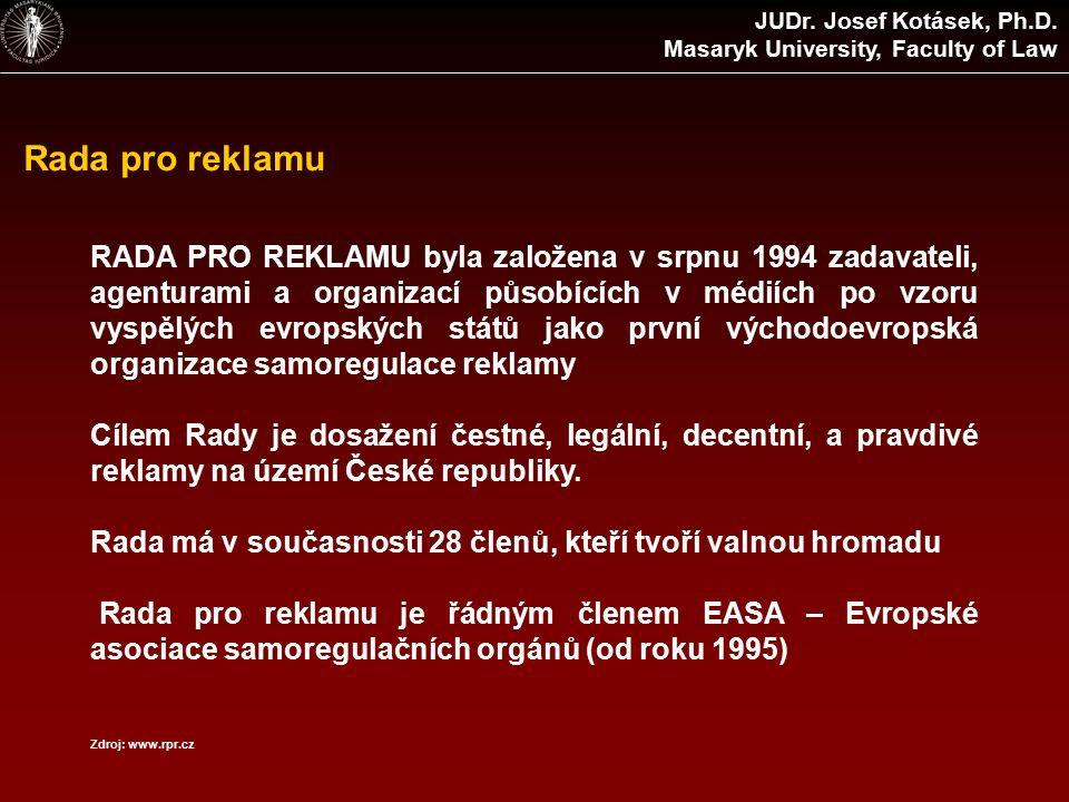 Rada pro reklamu RADA PRO REKLAMU byla založena v srpnu 1994 zadavateli, agenturami a organizací působících v médiích po vzoru vyspělých evropských států jako první východoevropská organizace samoregulace reklamy Cílem Rady je dosažení čestné, legální, decentní, a pravdivé reklamy na území České republiky.