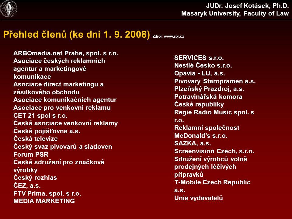Přehled členů (ke dni 1. 9. 2008) Zdroj: www.rpr.cz ARBOmedia.net Praha, spol.