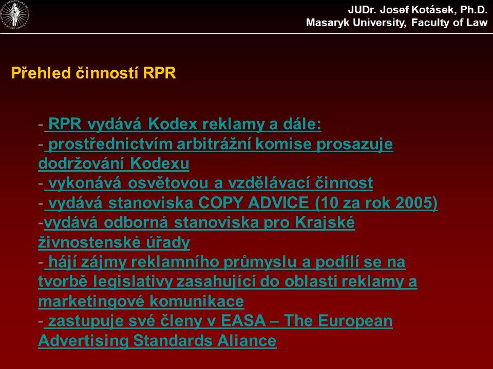 Přehled činností RPR - RPR vydává Kodex reklamy a dále:RPR vydává Kodex reklamy a dále: - prostřednictvím arbitrážní komise prosazuje dodržování Kodexu prostřednictvím arbitrážní komise prosazuje dodržování Kodexu - vykonává osvětovou a vzdělávací činnost vykonává osvětovou a vzdělávací činnost - vydává stanoviska COPY ADVICE (10 za rok 2005) vydává stanoviska COPY ADVICE (10 za rok 2005) -vydává odborná stanoviska pro Krajské živnostenské úřadyvydává odborná stanoviska pro Krajské živnostenské úřady - hájí zájmy reklamního průmyslu a podílí se na tvorbě legislativy zasahující do oblasti reklamy a marketingové komunikace hájí zájmy reklamního průmyslu a podílí se na tvorbě legislativy zasahující do oblasti reklamy a marketingové komunikace - zastupuje své členy v EASA – The European Advertising Standards Aliance zastupuje své členy v EASA – The European Advertising Standards Aliance JUDr.