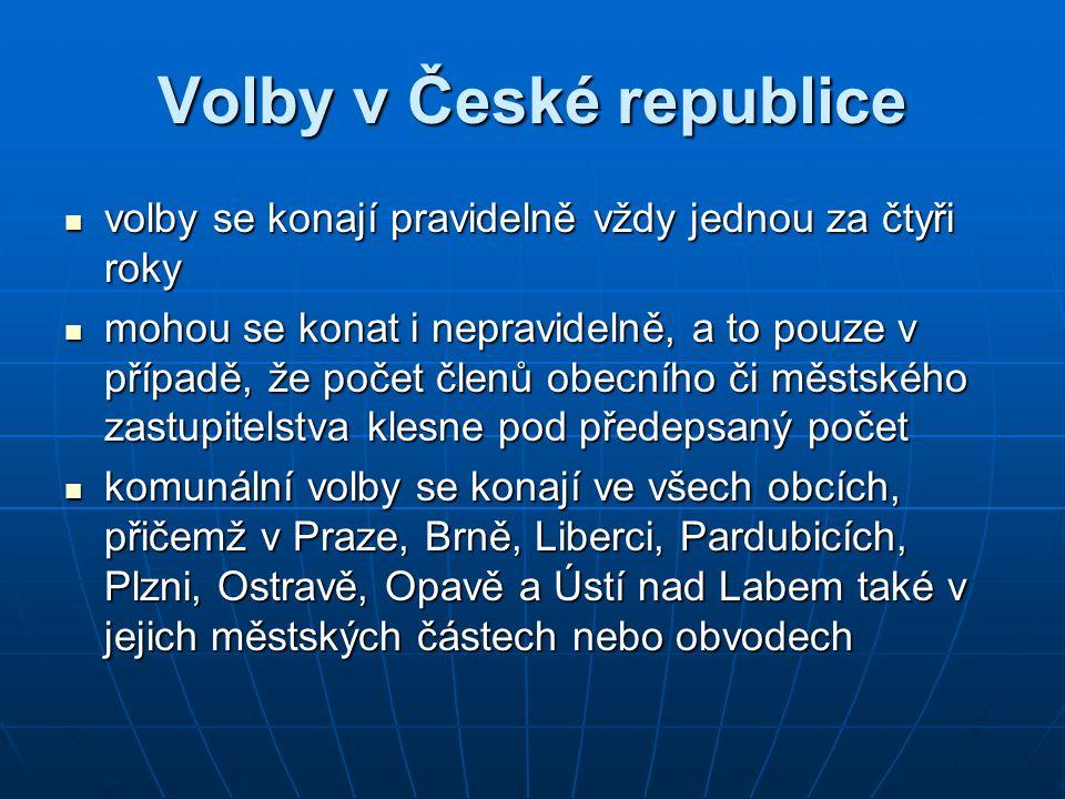 Volební právo v Česku Jelikož lid je zdrojem veškeré státní moci, kterou vykonává prostřednictvím orgánů moci zákonodárné, výkonné a soudní (nepřímá demokracie), volební právo v ČR je jedním ze základních principů výstavby státu.