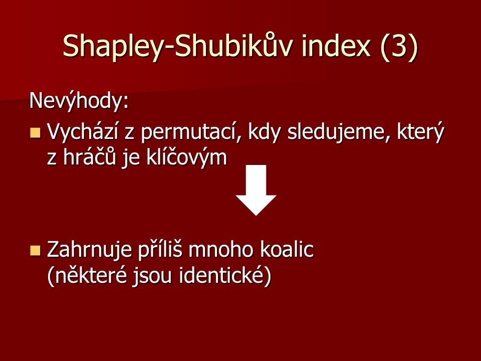 Shapley-Shubikův index (3) Nevýhody: Vychází z permutací, kdy sledujeme, který z hráčů je klíčovým Vychází z permutací, kdy sledujeme, který z hráčů je klíčovým Zahrnuje příliš mnoho koalic (některé jsou identické) Zahrnuje příliš mnoho koalic (některé jsou identické)