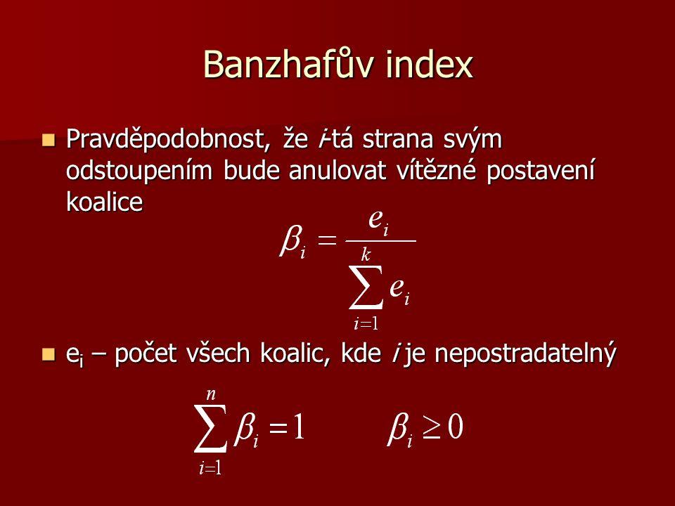 Banzhafův index Pravděpodobnost, že i-tá strana svým odstoupením bude anulovat vítězné postavení koalice Pravděpodobnost, že i-tá strana svým odstoupením bude anulovat vítězné postavení koalice e i – počet všech koalic, kde i je nepostradatelný e i – počet všech koalic, kde i je nepostradatelný