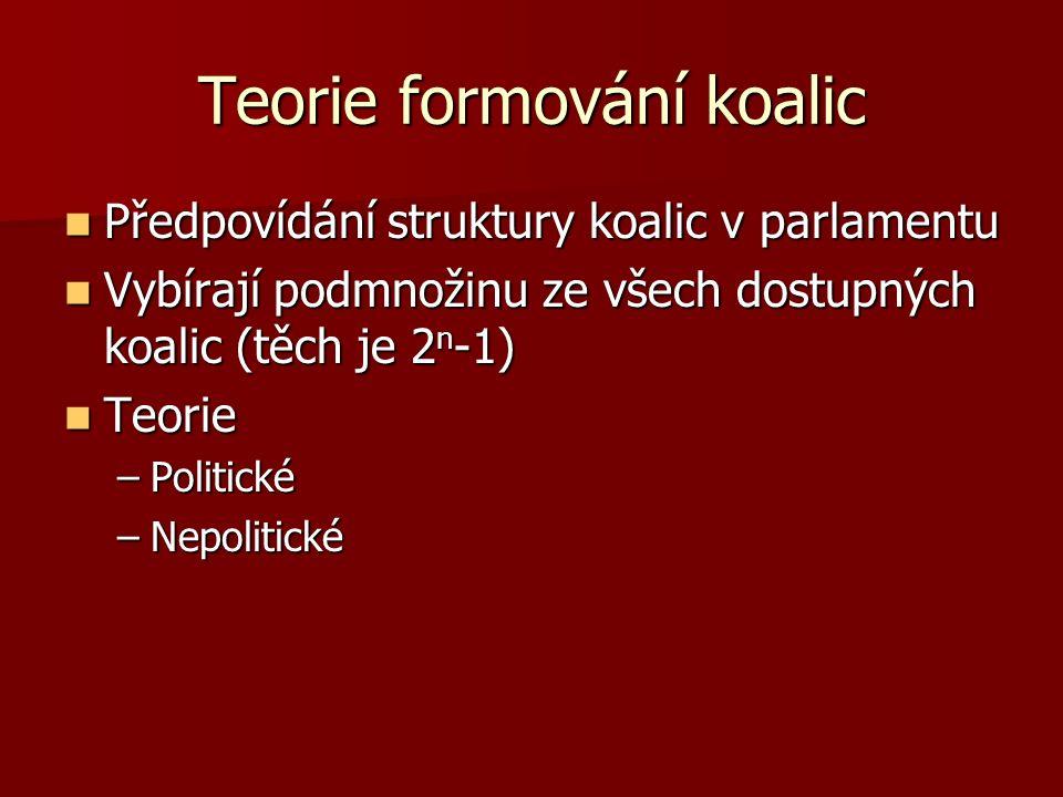 Teorie formování koalic Předpovídání struktury koalic v parlamentu Předpovídání struktury koalic v parlamentu Vybírají podmnožinu ze všech dostupných koalic (těch je 2 n -1) Vybírají podmnožinu ze všech dostupných koalic (těch je 2 n -1) Teorie Teorie –Politické –Nepolitické